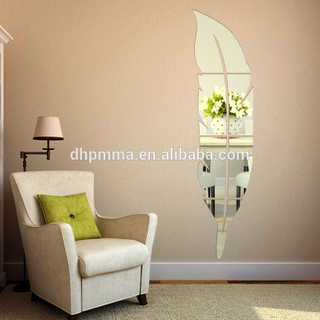 Feather Shaped Acrylic Safety Wall Mirror Sticker Decoration