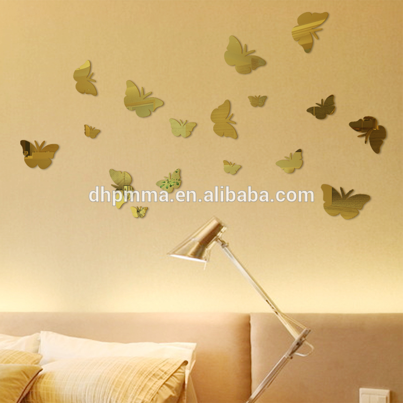 Butterfly Shape Wall Mirror with Self-adhesive Back for Home Decor