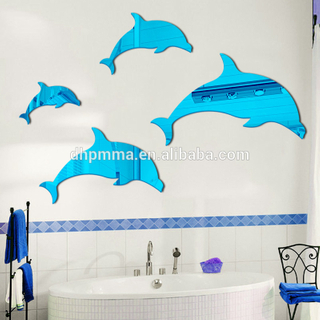 Adhesive Back Plastic Acrylic Wall Mirror Sticker Decoration in Dolphin Shape